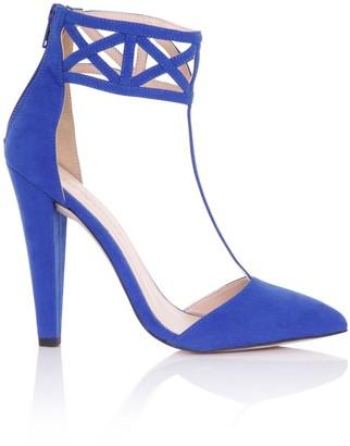 Little Mistress Footwear Artemis Cobalt Geometric Cuff Heels