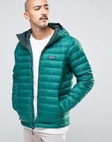 Patagonia Down Sweater Hooded Jacket In Green