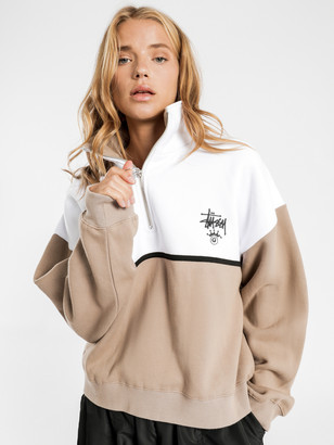Stussy Albion 1/4 Zip Fleece Pullover in Tan White