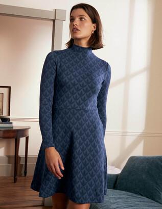 Boden High Neck Jacquard Dress
