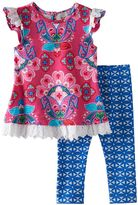 Rare Editions Baby Girl Paisley Eyelet Tunic & Kaleidoscope Leggings Set