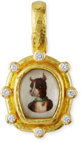 Elizabeth Locke 19k Essex Crystal & Diamond Dog Pendant