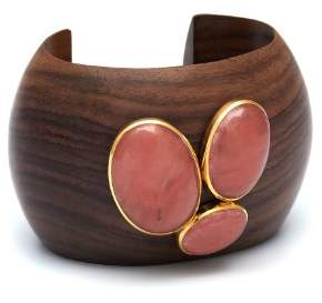 The Branch Jewellery Gold Plated Rounded Cuff with Cherry Quartz Stones Cluster