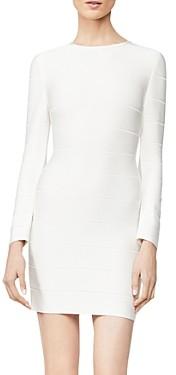 Herve Leger Long-Sleeve Mini Sheath Dress