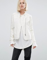 Pepe Jeans Iren Collarless Tweed Biker Jacket
