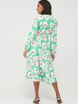Wallis Abstract Poppy Puff Sleeve Dress - Green
