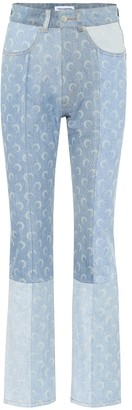 Marine Serre Printed high-rise straight jeans