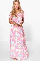 Boohoo Plus Helen Floral Off The Shoulder Maxi Dress pink