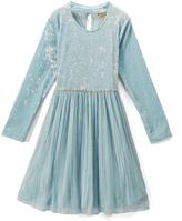 Speechless Turquoise Crushed Velvet Fit & Flare Dress - Girls