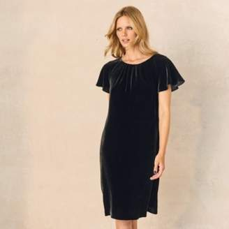 The White Company Velvet Swing Dress with Silk, Black, 10