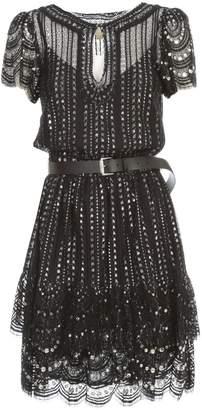 MICHAEL Michael Kors Lux Metal Lace Dress S/s V Neck W/belt