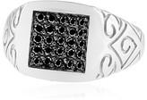 Effy Jewelry Effy Men's 14K White Gold Black Diamond Ring, 0.49 TCW
