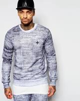 Criminal Damage Sweatshirt In Faded Stripe - Grey