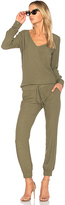 Monrow V Neck Long Sleeve Jumpsuit in Green