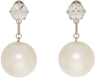 Miu Miu Silver Crystal and Pearl Earrings