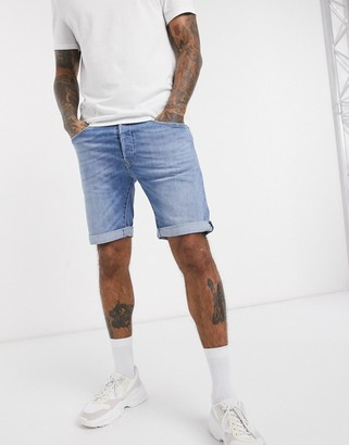 Replay Anbass slim fit denim shorts in light wash