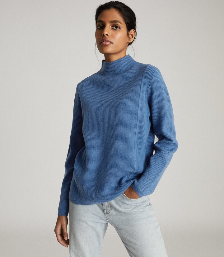 Reiss Marley - Textured High Neck Jumper in Blue