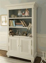 The Well Appointed House Rope Twist Bookcase in Antico White with Reef Blue Interior