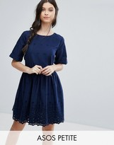 Asos Broderie Smock Dress with Open Back Detail
