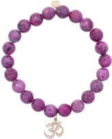 Sydney Evan Ruby beaded bracelet with diamond OM charm