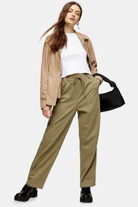 Topshop Womens Khaki Slouch Trousers - Khaki