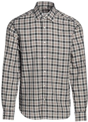 Saks Fifth Avenue COLLECTION Woven Plaid Sport Shirt