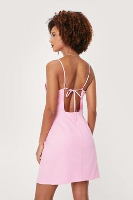 Nasty Gal Womens Linen Look Square Neck Mini Dress - Beige - 8