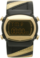 Adidas Black And Gold Leather Strap Watch