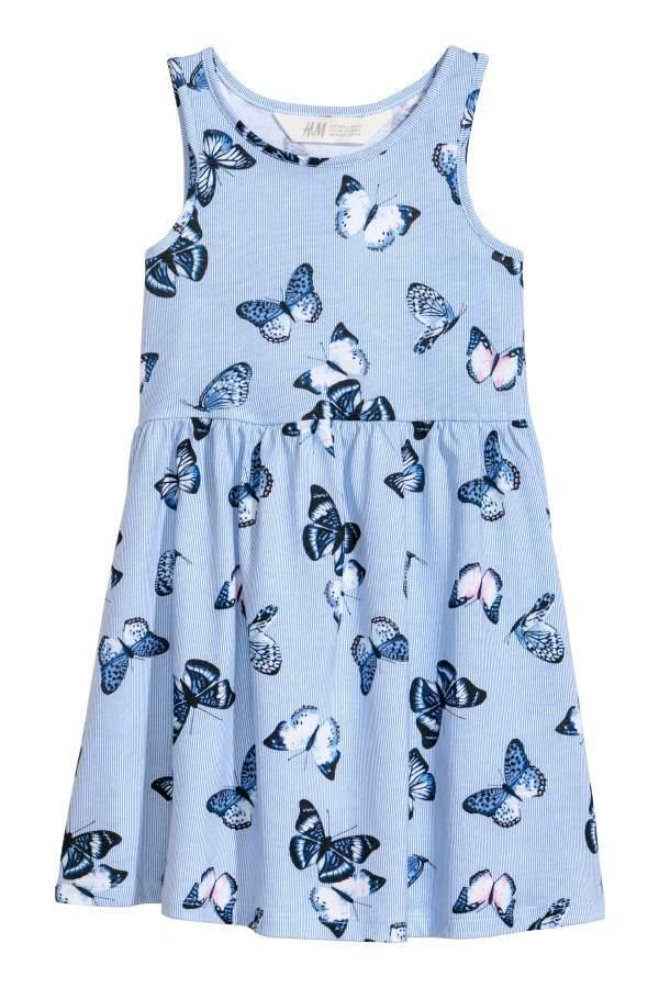 H&M Sleeveless Jersey Dress - Light blue/butterflies - Kids