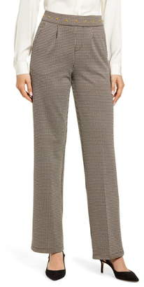 Hue Studded Waist Check Wide Leg Pants