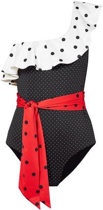 Ganni Prentis One-shoulder Ruffled Polka-dot Color-block Swimsuit