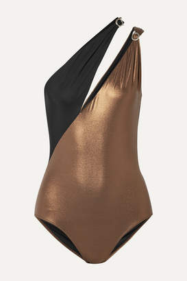 Marios Schwab On The Island By Double Boa Cutout One-shoulder Swimsuit - Bronze