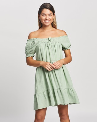Atmos & Here Atmos&Here - Girl's Green Mini Dresses - Amelia Mini Dress - Size 6 at The Iconic