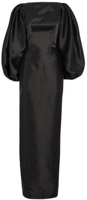 Rasario Silk Polka-Dot Print Gown