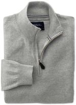Charles Tyrwhitt Light Grey Cotton Cashmere Zip Neck Cotton/cashmere Sweater Size XXXL