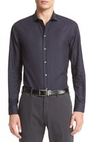 Armani Collezioni Men's Trim Fit Diamond Jacquard Sport Shirt