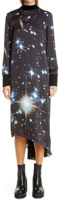 Sacai Star Print Asymmetrical Pleated Long Sleeve Satin Dress