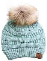 Gravity Threads CC Cable Knit Faux Fur Pom Pom Beanie Hat, M. Grey
