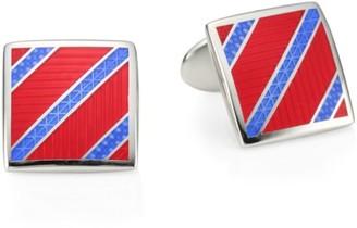 David Donahue Sterling Silver Diagonal Stripe Cufflinks