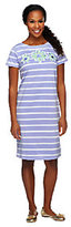 Bob Mackie Bob Mackie's Floral Applique Striped Short Sleeve Knit T-Shirt Dress