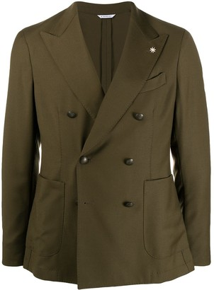Manuel Ritz Double Breasted Peak Lapel Blazer