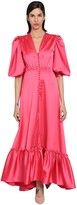 Luisa Beccaria Long Stretch Ruffled Satin Dress