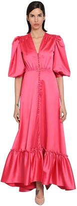 Luisa Beccaria Long Stretch Ruffled Satin Dress
