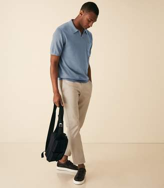 Reiss Giles - Open Collar Polo in Soft Blue