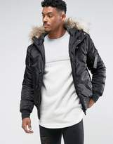 SikSilk Bomber Jacket In Black With Faux Fur Hood