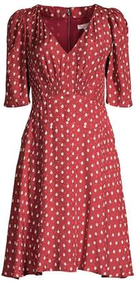Rebecca Taylor Sunrise Dot Stretch-Silk Dress