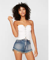 Express one eleven smocked lace-up tube top