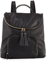 Neiman Marcus Pebbled Faux-Leather Double Backpack, Black