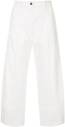 Cédric Charlier Cropped Cotton Trousers