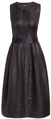 Akris Leather Effect Sleeveless Belted Dress